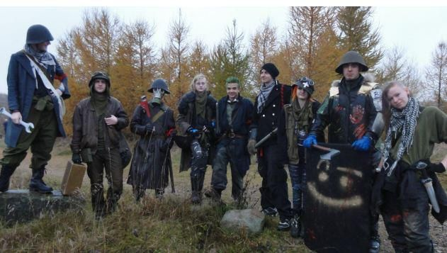 """""""Crater"""" Dk a post-apocalyptic larp, I´m the second from the right and my name was T-back and my job was to collect food.. But in the end, I was barly got eaten myself."""