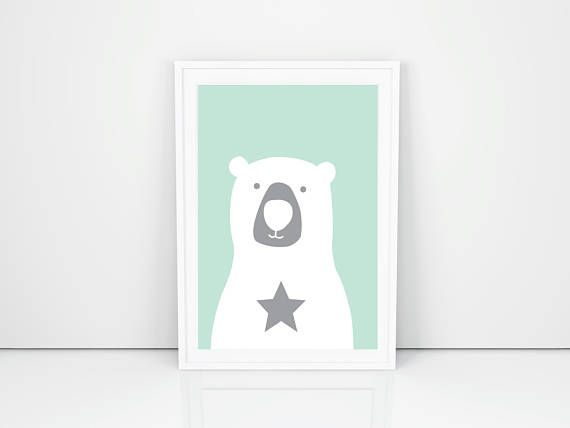 A white bear with a star download art prints with turquoise background, Printable Bear, Bear poster, Gift for Nursery, baby bear, Bear art