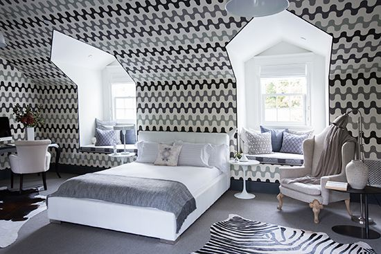 Space covered in Martyn Lawrence Bullard's Majorelle fabric
