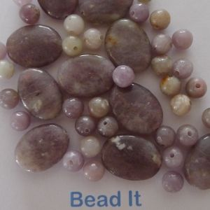 Lilac stone (natural), 6mm round, and 17mmx12mm oval mix, approx: 88pcs