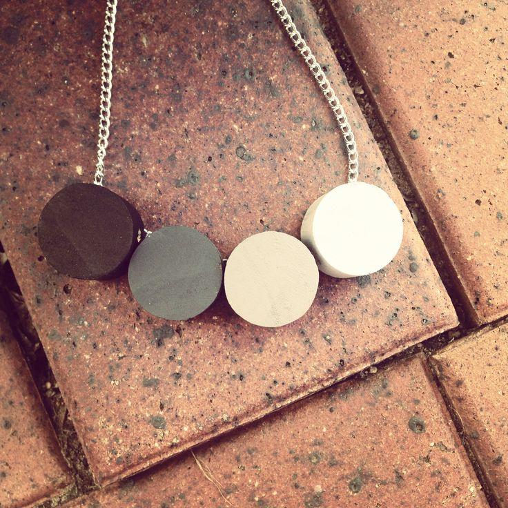 #wood #handmade #necklace #grey #tones #circles