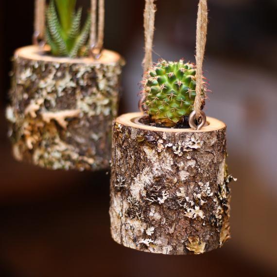 Haus Erwärmung Geschenk Übertopf hängen Blumentopf Indoor rustikal hängen saftiges Pflanzgefäß Log Blumentopf Kaktus Sukkulenten Halter Geschenke für Sie