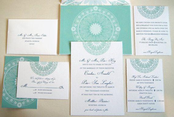 Versailles Aqua & Sea Green Wedding Invitation by VelmaTypeshop, $6.50