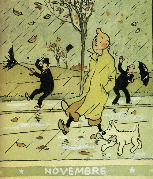 """☂Automne☂ Tintin, personnage principal de la bande dessinée créée par le dessinateur belge Hergé (1907-1983-pseudonyme de Georges Remi) """"Les Aventures de Tintin"""". Il apparaît pour la première fois dans le supplément jeunesse """"Le Petit Vingtième"""" avec """"les aventures de Tintin au pays des Soviets""""  (1929). Tintin, jeune reporter accompagné par son chien Milou, le capitaine Haddock à partir du """"Crabe aux pinces d'or"""" et le professeur Tournesol à partir de l'album """"Le Trésor de Rackham le…"""