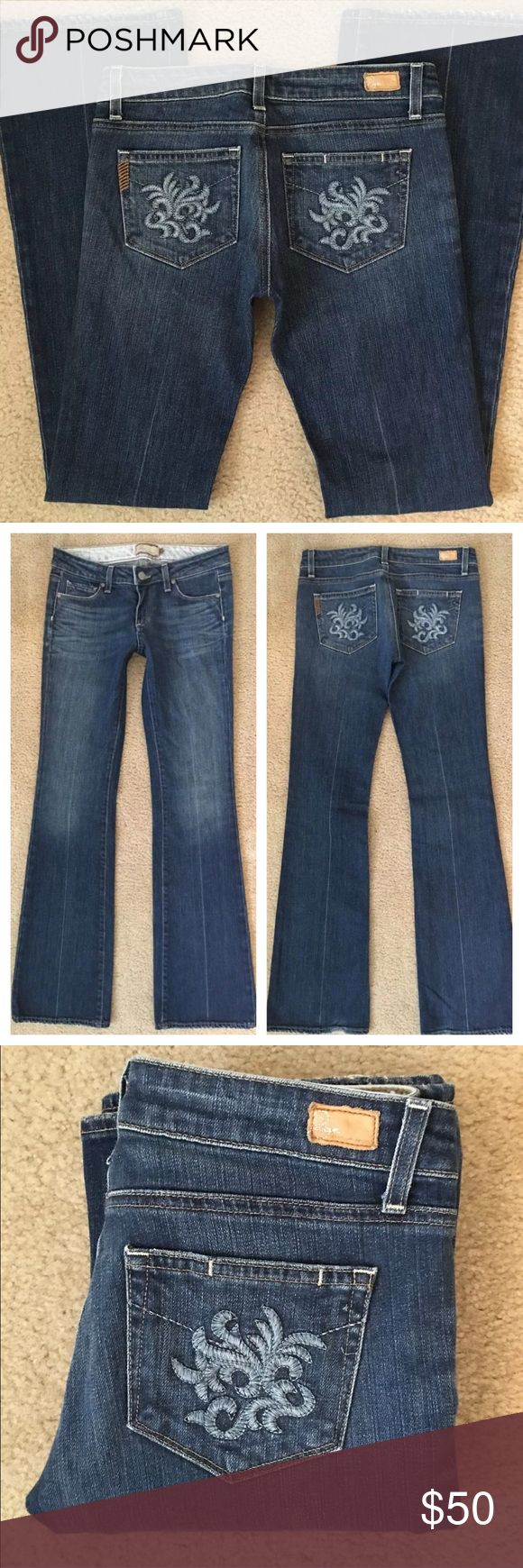 """Paige Premium Denim Laurel Canyon Las Palmas Jeans Tag Size - 27 Waist Measured Across - 14.5"""" Inseam - 34"""" Rise - 7.5"""" Great used condition with just a little fray to the rear cuffs. Paige Jeans Jeans Boot Cut"""