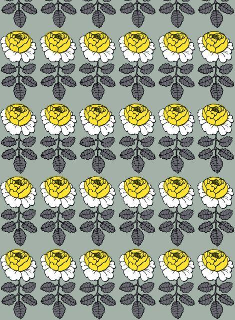 Maalaisruusu-kangas (harmaa,keltainen,valkoinen) |Kankaat, Puuvillakankaat | Marimekko