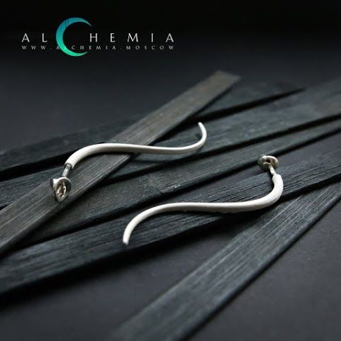 The Hair earrings, silver. Handmade by Alchemia Jewellery.