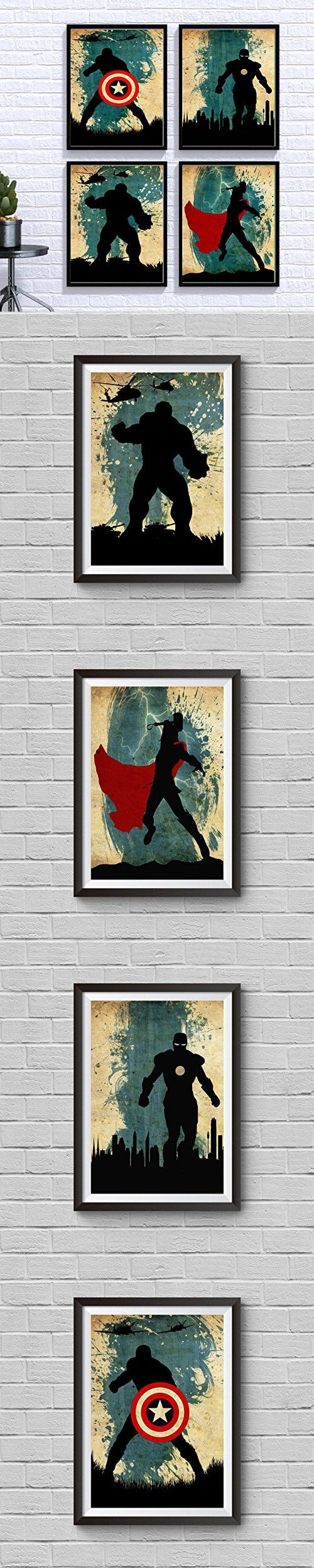 Avengers Poster Set Vintage Poster Marvel Movie Print Minimalist Avengers Poster Artwork Wall Art Home Decor Wall Hanging Captain America Iron Man Thor Hulk