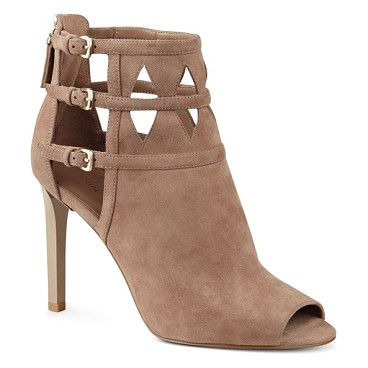 'laulani' cutout peep toe bootie by Nine West. A trio of buckled straps overlap the intricate cutouts that detail this peep-toe bootie cut from lush suede and balanced by a tall stiletto heel.  #ninewest #nudeshoes