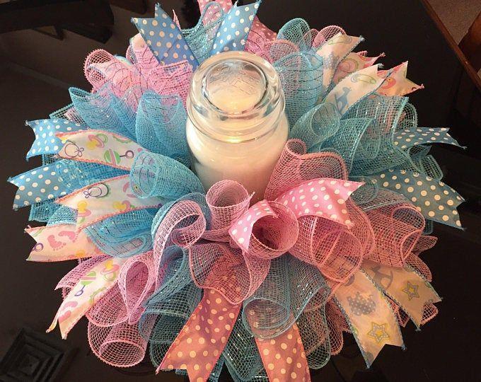 "17/"" Handmade Boy Baby Shower Deco Mesh Centerpiece//Candle Holder In Blue /& White"