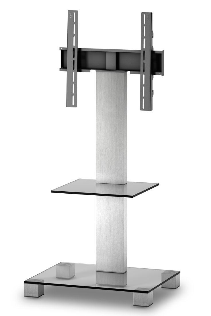 ELBE PL-2515-C-INX MUEBLE SOPORTE PARA TELEVISIÓN  - Mueble soporte para televisión.  - Para pantallas de hasta 50 pulgadas. - Peso soporte hasta 50 kg.  - Materiales: Cristal, aluminio y soporte de hierro. - Colores: Cristal negro con columna trasera y patas INOX. - (An-Al-Pr): 65 x 109 x 50 cm. - Peso: 16.6 kg.