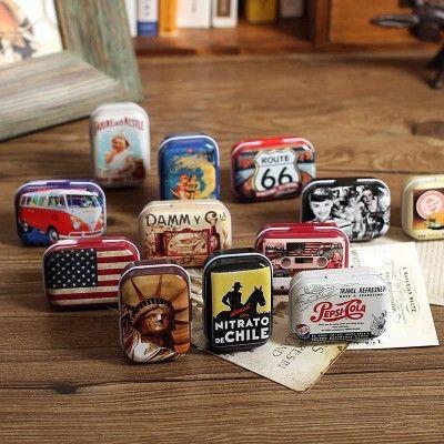 Aibei-アメリカンスタイルミニ錫box1pc雑貨ヴィンテージ小さな金属缶収納ボックスオーガナイザーピルケース