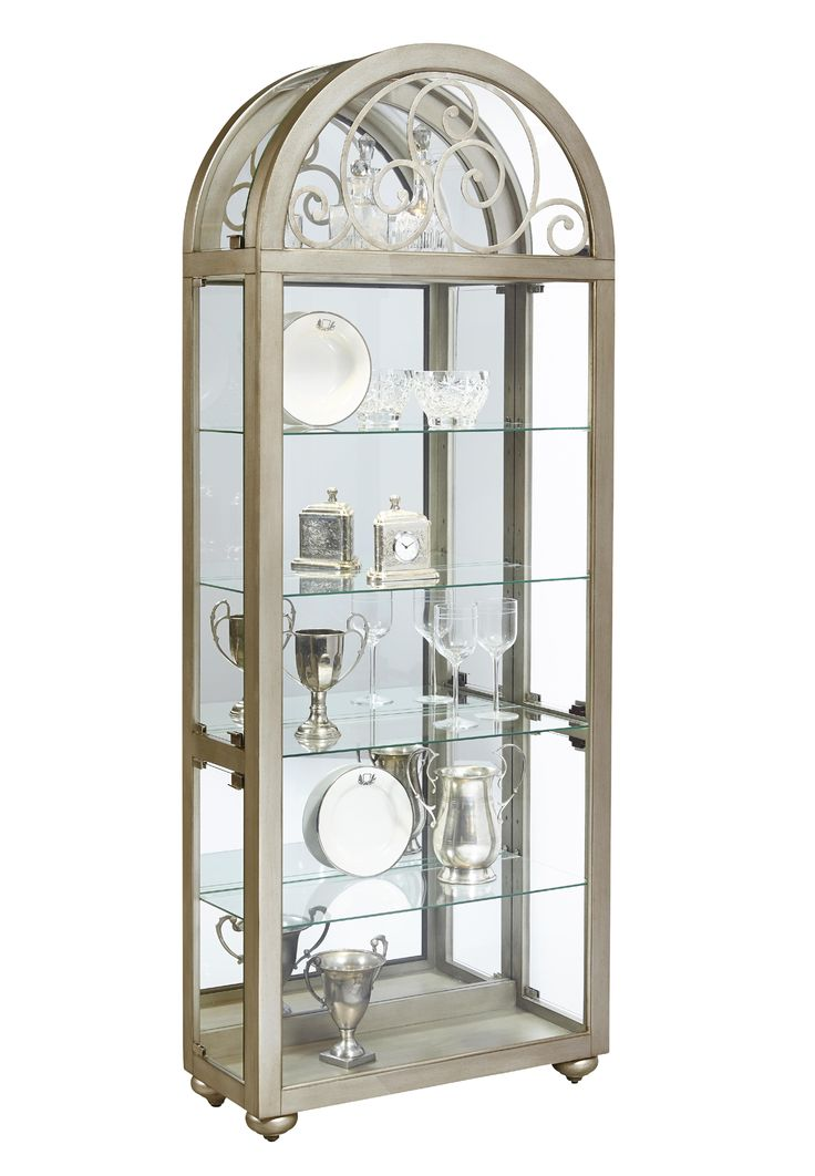 Metallic Wood Gl Metal Mirror Back Curio Cabinet