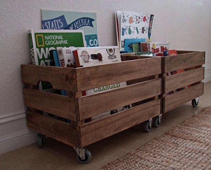 1001 Idees Pour Detourner Une Caisse En Bois Ikea Meuble Rangement Jouet Rangement Jouet Enfant Rangement Livre Enfant