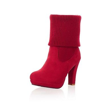 Women's Shoes Platform Round Toe Chunky Heel Flocking Ankle Boots More Colors available - USD $ 29.99