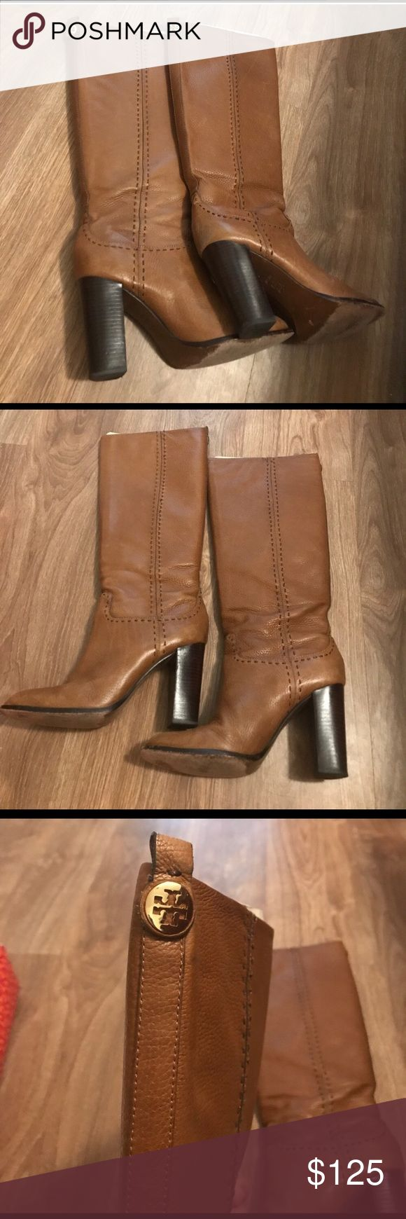 Tory Burch Brown Leather Nadine Riding Boots 9 EUC are these 100% Authentic Tory Burch Brown (Color is Sienna) Leather Nadine Riding Boots in Ladies Size 9. Unboxed. Retail $400.00 Tory Burch Shoes Heeled Boots