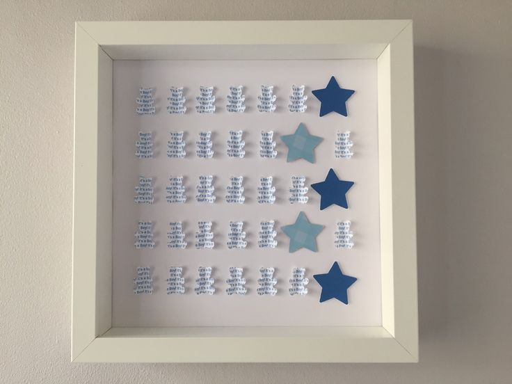 "Image of Bears/Stars - Medium (9"" sq.) - It's a Boy – Blue"