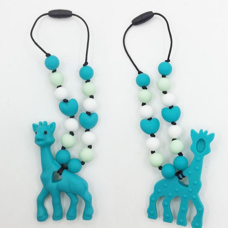 Siliconen tandjes giraffe fopspeen ketting Opknoping Speelgoed-siliconen Draagzak Kinderziektes Accessoire-baby bijtring giraffe Ketting
