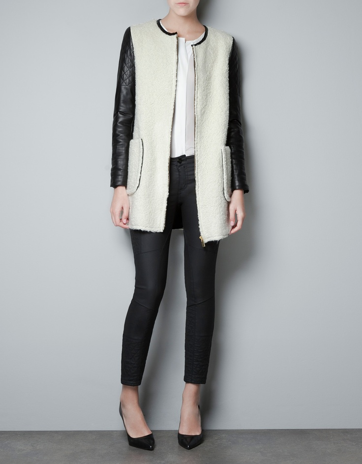 COAT WITH LEATHER SLEEVES - Coats - Woman - Zara