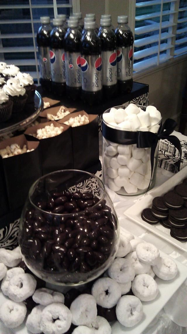 Black and white dessert table birthday celebrations - Black and white food ideas ...