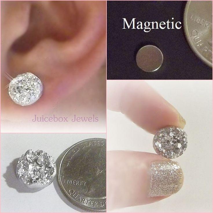 MAGNETIC Silver Faux Druzy, Non Pierced 12mm Stud Trendy No Holes Earrings #171…