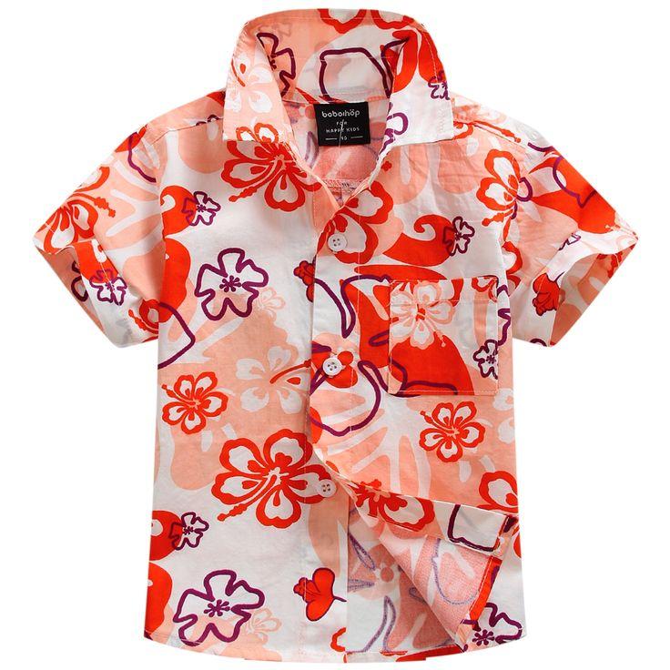 2016 новых прибытия хлопок 100% цветочные рубашка гавайская рубашка гавайская рубашка для мальчика T1536