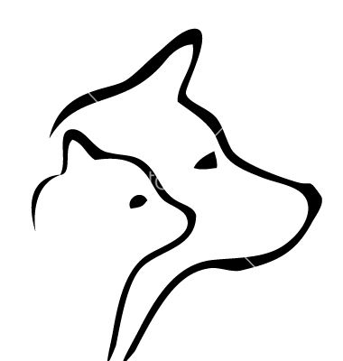 Cat and dog silhouette tattoo