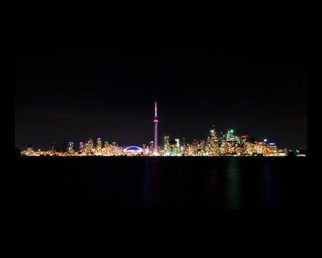 Toronto Skyline At Night From Centre Island on #artflakes #Toronto #cityscape #photos
