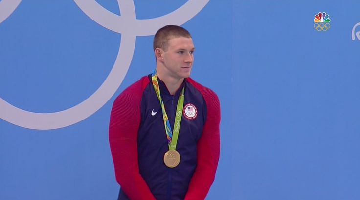 When you're trying to act calm, cool and collected when you win a #GOLD Medal! #Rio2016 #Swimming Ryan Murphy