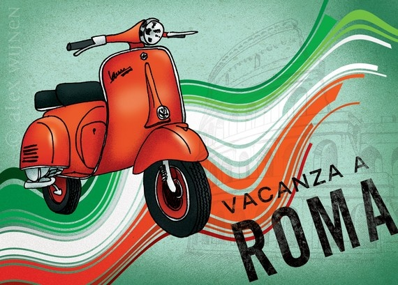 Roman Holiday (red vespa scooter with Italy flag and collosseum)