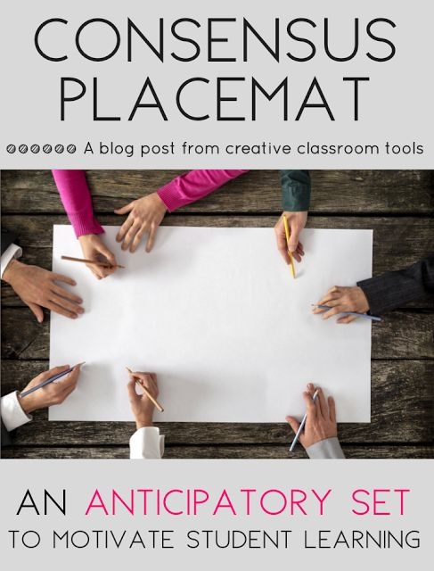 The consensus placemat is a great way to focus students' attention and activate prior knowledge!  This cooperative learning activity is one of my favorite no-prep, anticipatory sets. Read on to see how the consensus placemat works, view examples, and grab a free printable template!