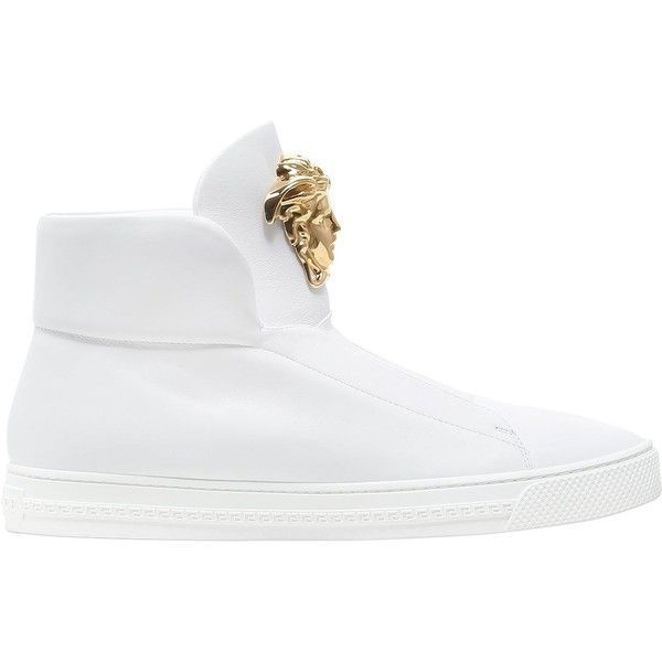 Versace Men Medusa Nappa Leather High Top Sneakers (€930) ❤ liked on Polyvore featuring men's fashion, men's shoes, men's sneakers, white, mens black hi top sneakers, mens white high top sneakers, mens hi tops, mens high top shoes and mens sneakers