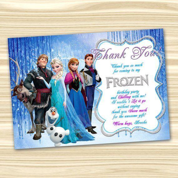 Frozen Thank You Card Frozen Thanks Frozen Printable Diy Frozen Birthday Party Digital Frozen Invitations Frozen Birthday Invitations Frozen Birthday Party