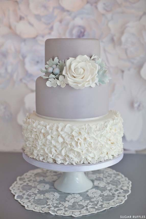 Beautiful Cake Pictures: Pale Grey Cake  White Sugar Ruffles: Cakes with Flowers, Cakes With Ruffles, Wedding Cakes