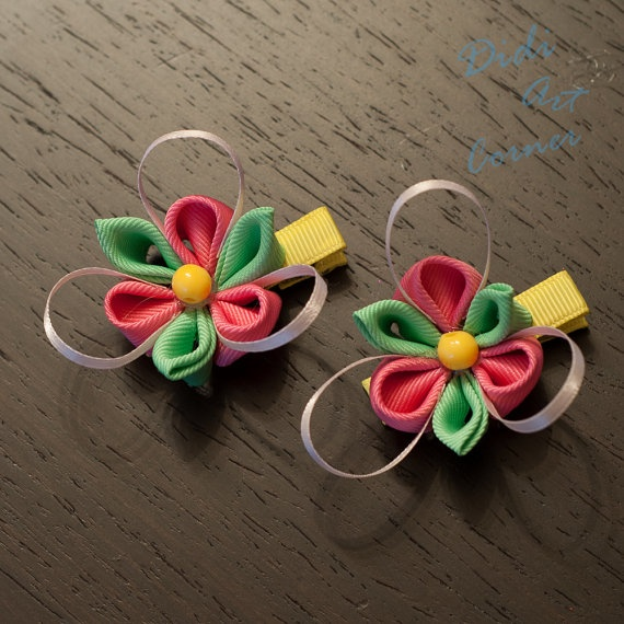 Free Shipping!!Spring Kanzashi Flower with a Pearl Hair Clip by DidiArtCorner, $9.99