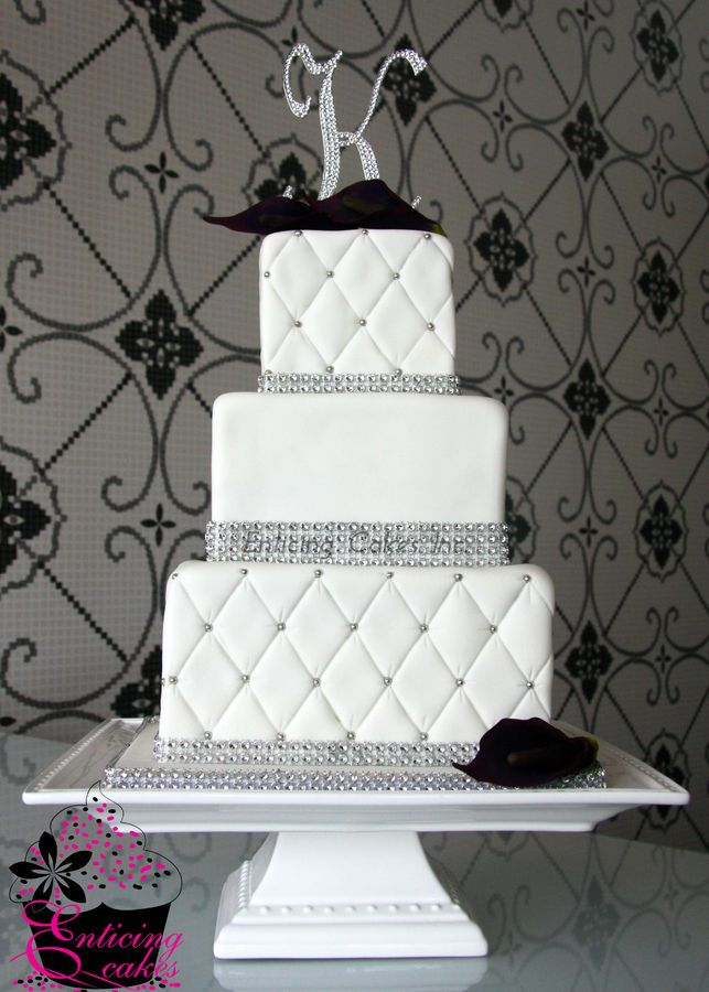 Quilted design with Bling.  Quilting can be done with fondant or buttercream, but looks more realistic with fondant.