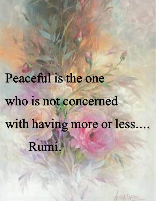 Peaceful is the one who is not concerned with having more or less. - Rumi, persian poet