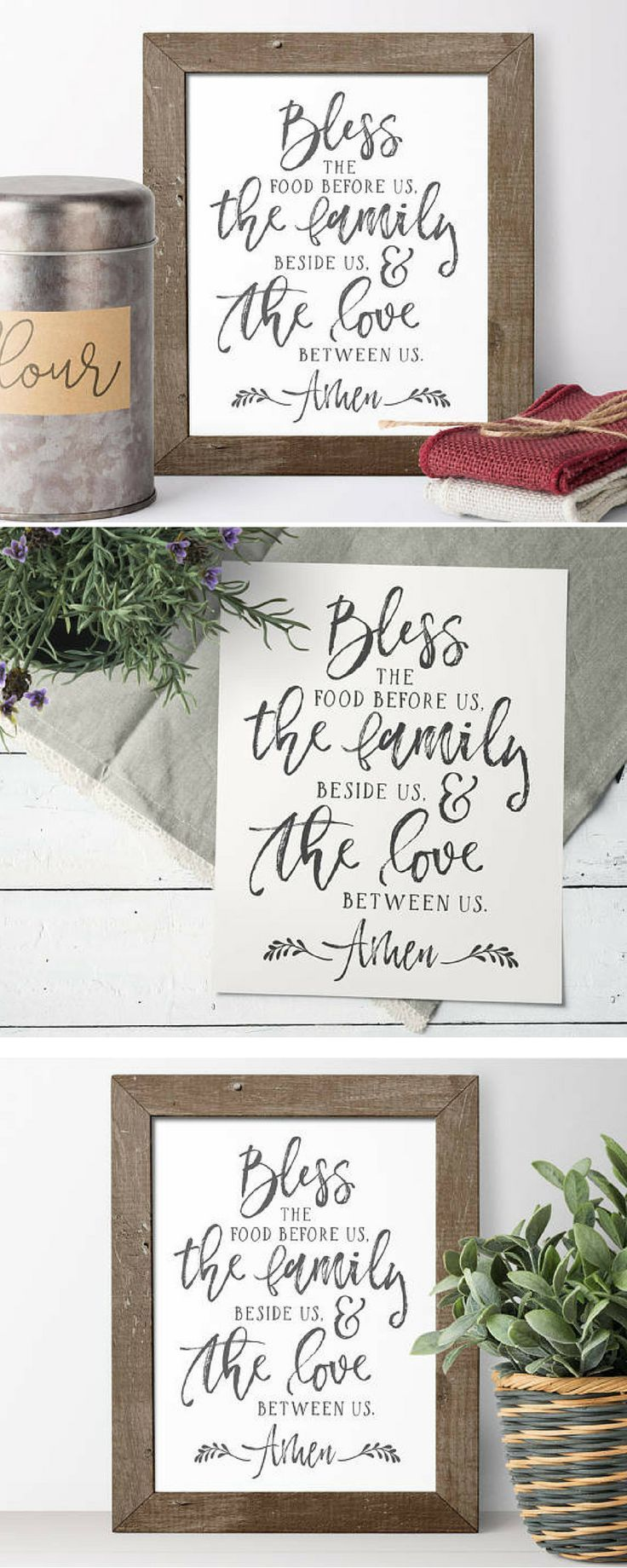 Farmhouse sign | Printable | Farmhouse dining room | Rustic dining room | Dining room decor | Budget decor | Bless the food before us, the family beside us, and the love between us.  Amen.   #affiliatelink #decoronabudget  #printable #joannagaines #magnolia #homedecor #etsy #etsyfind