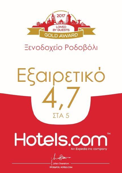 Η νέα διάκριση του Ξενοδοχείου Ροδοβόλι για το 2017, από την Hotels.com