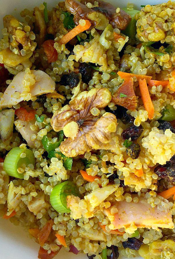 Curry Quinoa Walnut Salad on ReluctantEntertainer.com