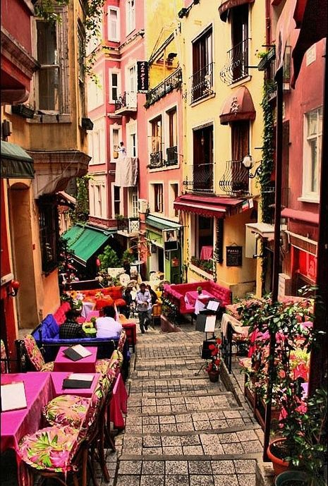 "French Street, Beyoğlu Istanbul. ""Rue Francaise"", with tented buildings, street musicians, cafés, bars and art centers..."