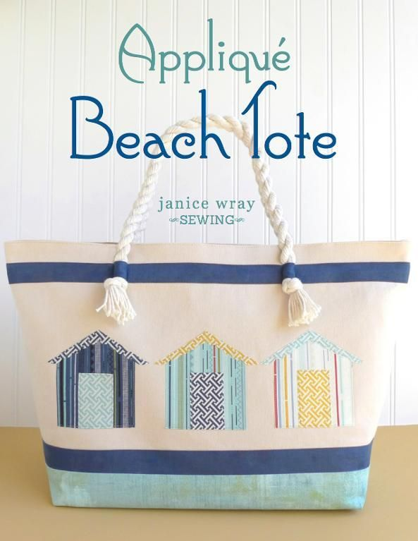 Appliqued Beach Tote Bag - PDF Sewing Pattern + How to Make a Tote Bag Using Charm Packs
