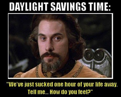 Daylight savings time. Freaking haaaateee when we switch in the winter... makes spring that much sweeter when we go back though