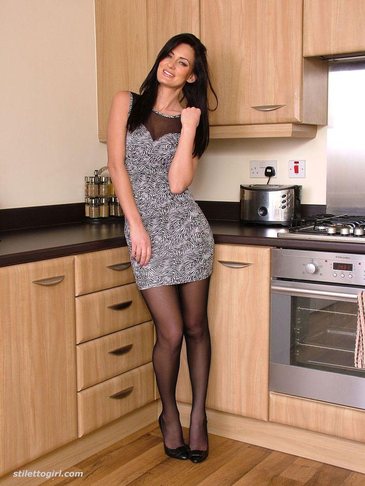 Mature blonde stockings high heels