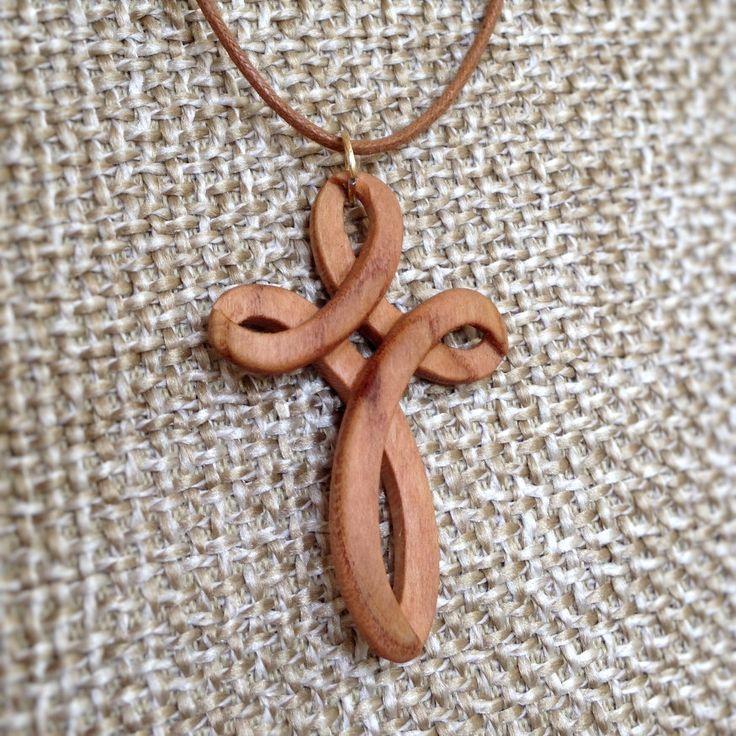 Hand Carved Hardwood ApricotTree Pendant Celtic Cross - wood pendant, natural jewelry, organic jewelry, pendant, necklace pendant, cross by VanDenArt on Etsy