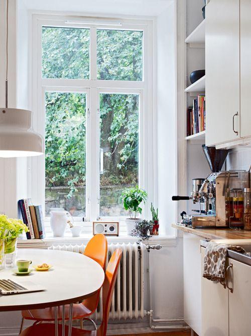 ::: Bright Kitchens, Espresso Machine, Dreams Kitchens, Tiny Kitchens, Kitchens Nooks, Cozy Kitchens, Orange Chairs, Kitchens Corner, White Kitchens