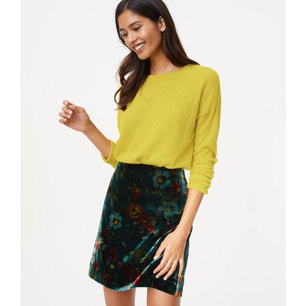 LOFT Floral Velvet Shift Skirt ($60) ❤ liked on Polyvore featuring skirts, rolling hills green, white skirt, loft skirts, petite long skirts, lined skirt and white floral skirt