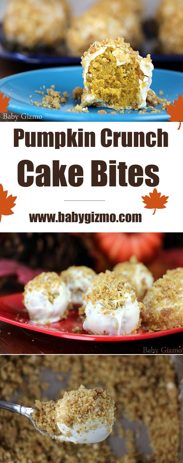 These are cakes bites made with my favorite cake ever - Pumpkin Crunch Cake! These bite-sized cake balls make any holiday that much better! #cake #cakepops