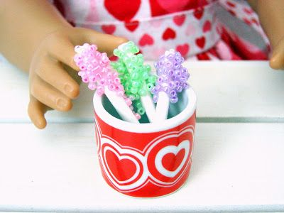American Girl Doll Play: Doll Crafts - What We Made for the Valentine's Day Party - some rock candy!