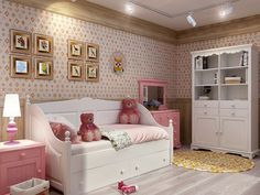 Кровать-диван Melanie Plus в стиле прованс. Детская комната для девочки в белом и розовом цвете. Pink and white bedroom for girl. Provance style